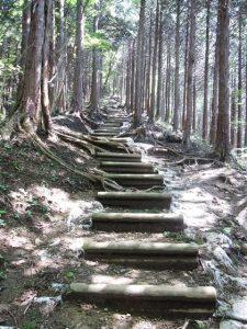 石老山山頂への階段